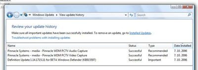 Windows Vista updates