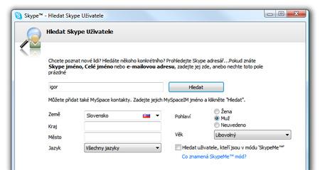 Skype, hľadanie užívateľov - vloženie