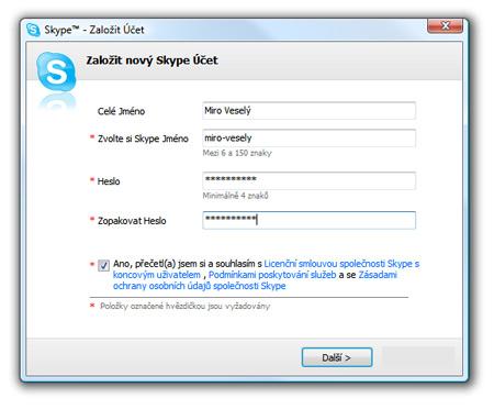 Skype, nový účet - vloženie existujúcich dát