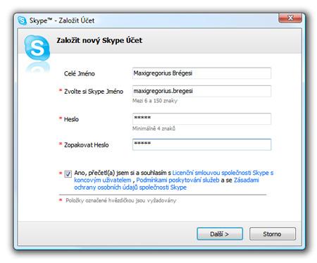 Skype, nový účet - vloženie mena