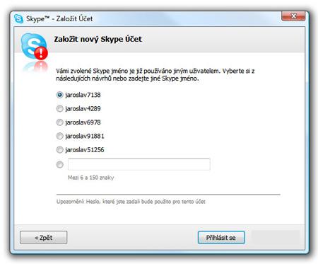 Skype, nový účet - obsadené mená