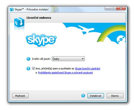 Skype, inštalácia - po štarte