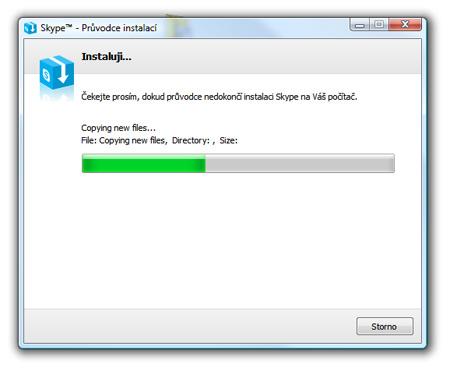 Skype, inštalácia - priebeh