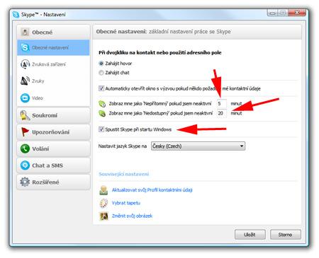 Skype - odporúčané nastavenia
