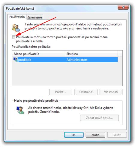 Windows Vista vypnutie hesla